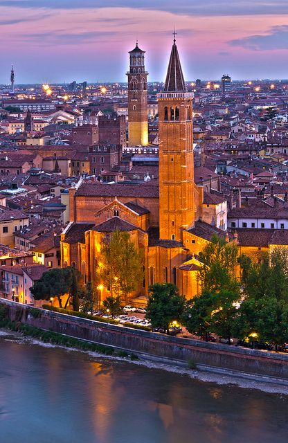 Basilica di Santa Anastasia at sunset, Verona, Veneto Region, Italy. Sant' Anastasia is a church of the Dominican Order in Verona, northern Italy. In Gothic style, it is located in the most ancient part of the city, near the Ponte Pietra.