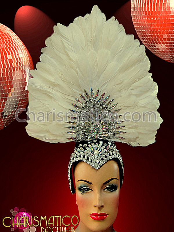 Tall Fan-shaped White Headdress with Crystal Embellished Center and Cap