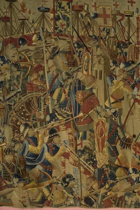 """""""The Pastrana Tapestries are among the finest surviving Gothic tapestries . . . Woven in the late 1400s, these monumental tapestries . . . are among the rarest and earliest examples of tapestries created to celebrate what were then contemporary events, instead of allegorical or religious subjects. . . Exquisitely rendered in wool and silk threads by Flemish weavers . . .tapestries teem with vivid and colorful images . . . set against a backdrop of maritime and urban landscapes."""""""