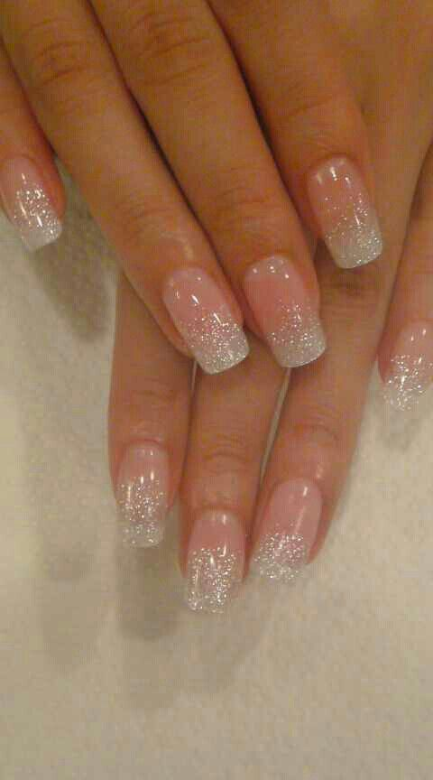 SCULPTURED NAILS done with color glitter acrylic powder dust, so lovely