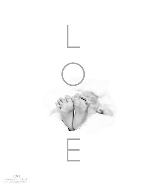 Baby Boy Feet! Black and White Photography Inspiration photo: LOVE with feet as the letter V by samantha bird