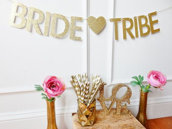 This BRIDE TRIBE glitter banner is the perfect way to add some sparkle to your bachelorette celebration or bridal shower! This banner is made