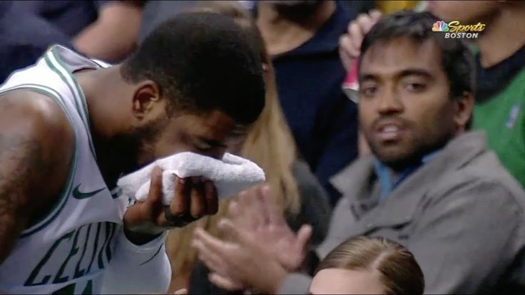 Kyrie Irving gets elbowed in the face, left the game