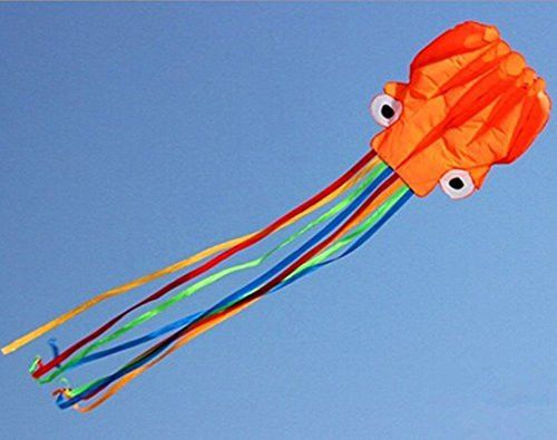 Kite-Beautiful Large Easy Flyer Kite for Kids - Nylon Cloth 4m Power Red Head and Colorful Tail Octopus Software Kite With Handle And Line, Orange