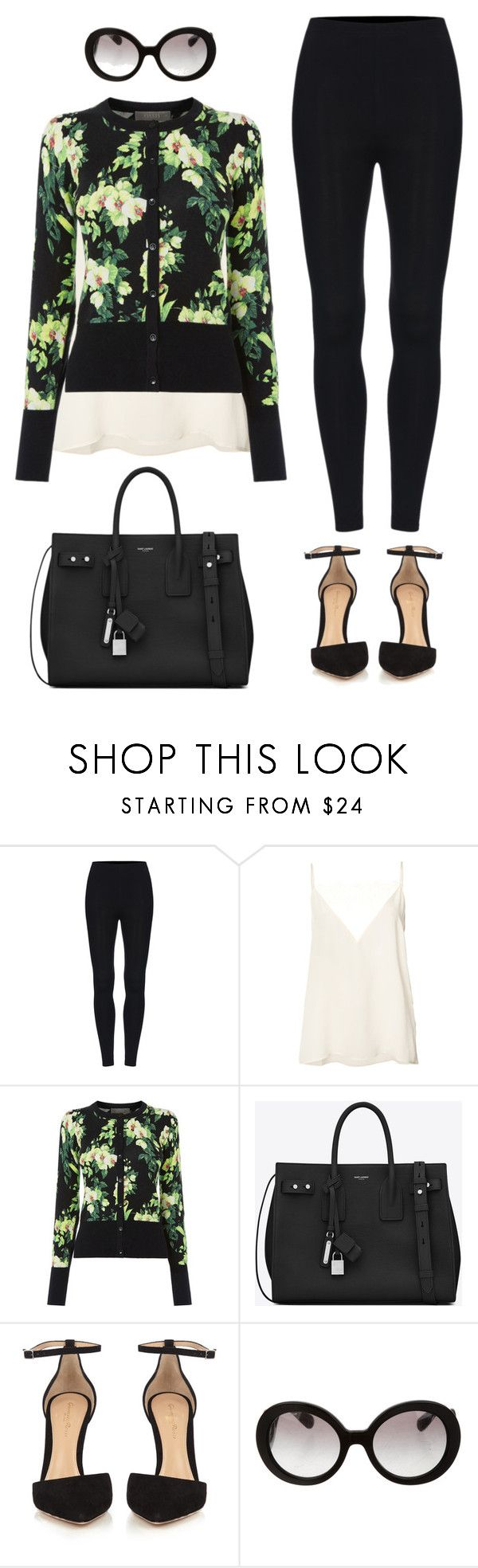 """""""Leggings outfit #9"""" by glamupparties ❤ liked on Polyvore featuring Anine Bing, Yves Saint Laurent, Gianvito Rossi and Prada"""