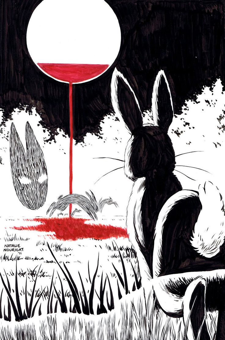 Watership Down by ~Tallychyck - This is an interesting take on the Black Rabbit of Inlé, more like a spirit than an actual rabbit. I'm enjoying the face that it's not deemed necessary to show his entire body and instead you can see his head with negative space eyes.  Maybe I can toy with negative space in my own work.