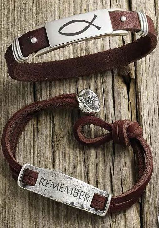 Men's Leather & Silver Bracelet, shown with engraving, Rustic Leather ID Bracelet, shown with engraving #JamesAvery