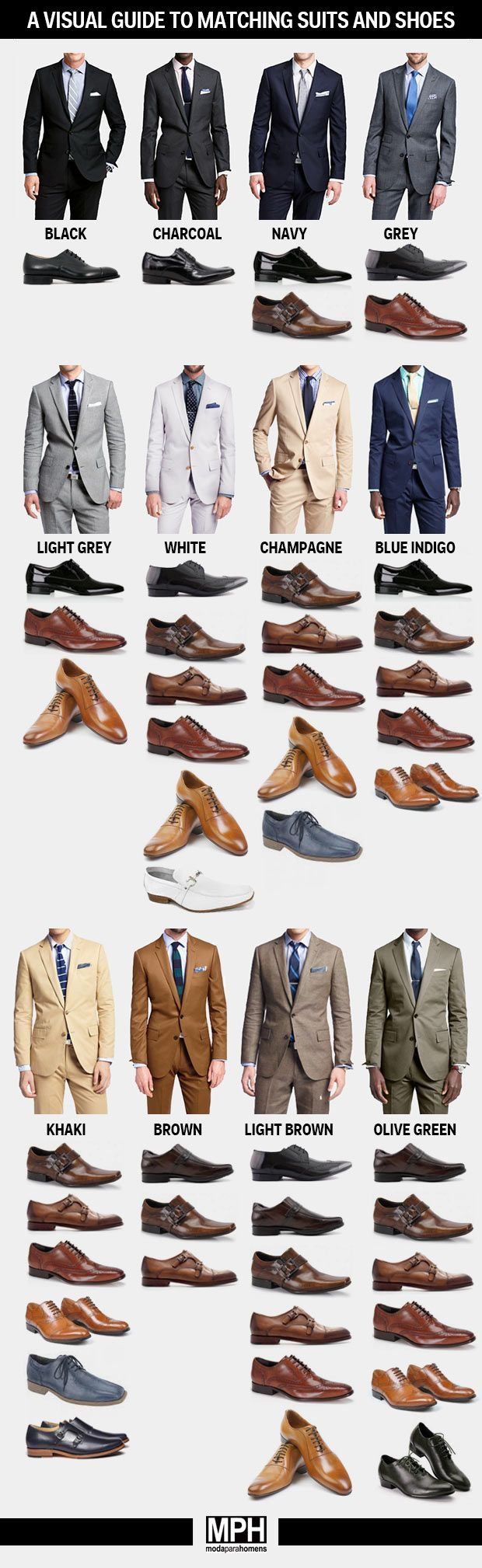 Don't fret about trying to figure out how to match your shoes to your suit, this visual guide has you covered! #DTTSWedding #GlamTimeTuesday