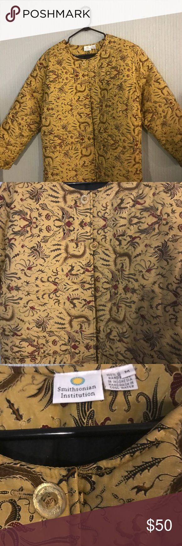"Quilted jacket, Smithsonian catalog Jacket size M, 28"" long, oriental pattern in black and maroon on a butterscotch colored background. Smithsonian Jackets & Coats"