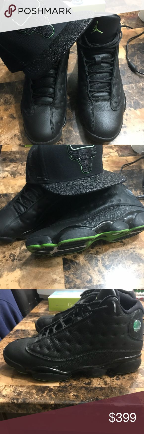 Jordan XIII Jordan 13 SZ 11 Worn only 3 times. Men's Jordan XIII . They are all black with green soles . They are  size 11. Also sold with matching Mitchell & Ness SnapBack. Open to offers. Rare sneakers and hard to find in size 11 Jordan XIII Shoes Sneakers #sneakersjordans