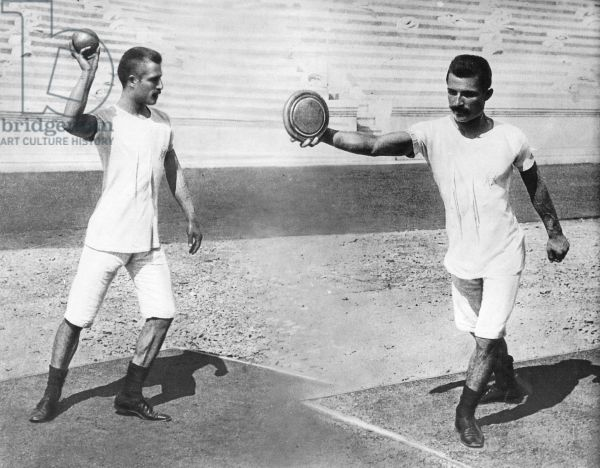 Two field athletes from the first Olympic Games of the modern era in Athens, 1896 (b/w photo)