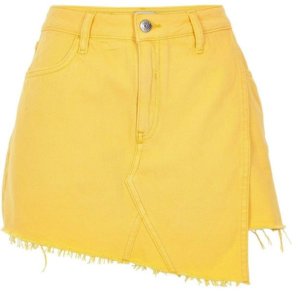 5c081686b7 River Island Yellow denim frayed hem skort ( 70) ❤ liked on Polyvore  featuring skirts
