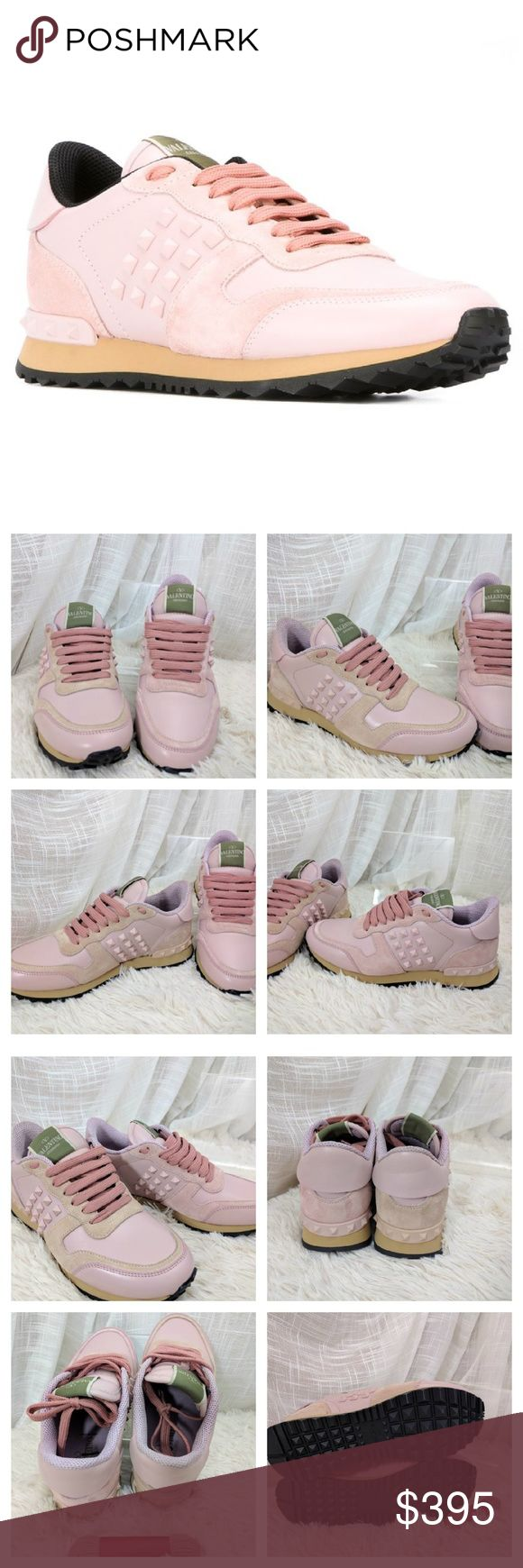 Valentino Garavani Rockstud Sneakers defect! Brand new Valentino Garavani sneakers in pastel pink.  Defect is the suede on one of the shoes is a different hue than the other (closer to tan) see the photos for detail or ask any questions before purchasing please.  These are guaranteed authentic they were received from a Canadian luxury retailer. Valentino Garavani Shoes Sneakers