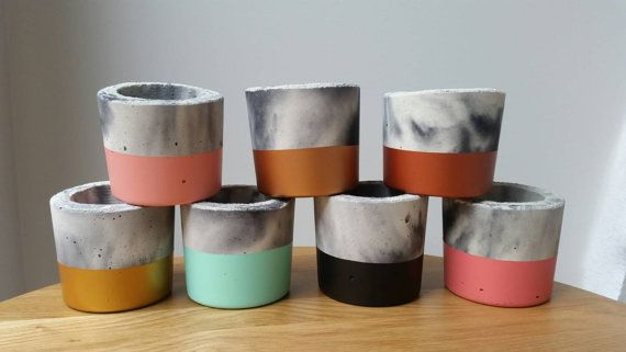 This listing is for a handmade concrete mini planter or tealight holder, available in assorted colors, made from marbled concrete. This listing
