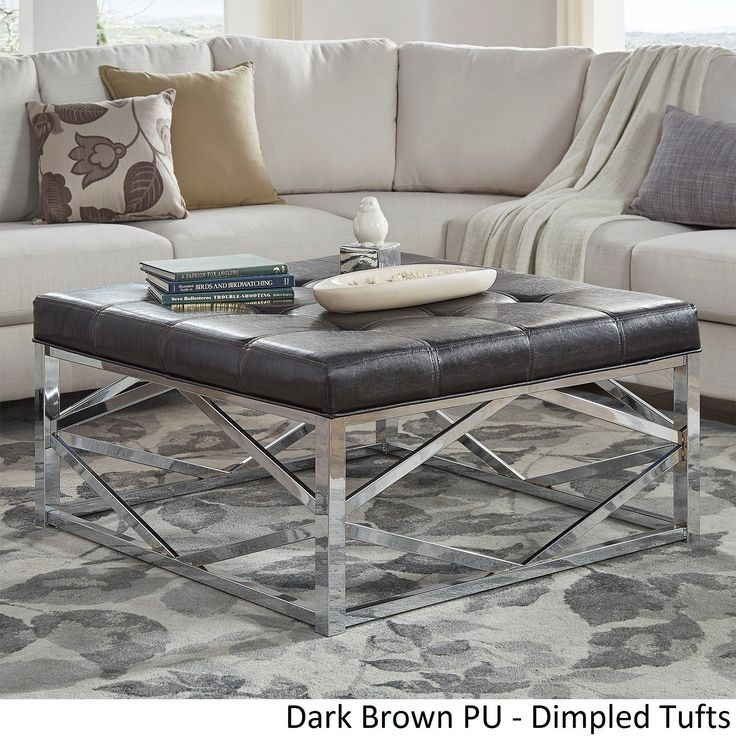 foot rests for living room%0A Solene Geometric Base Square Ottoman Coffee Table  Chrome by iNSPIRE Q  Bold   Dark