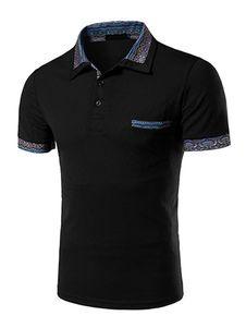 Camisa de Polo de algodón de impresión elegante negro para los hombres