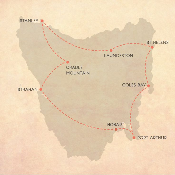 Tasmanian Road Trip Map, 14 days