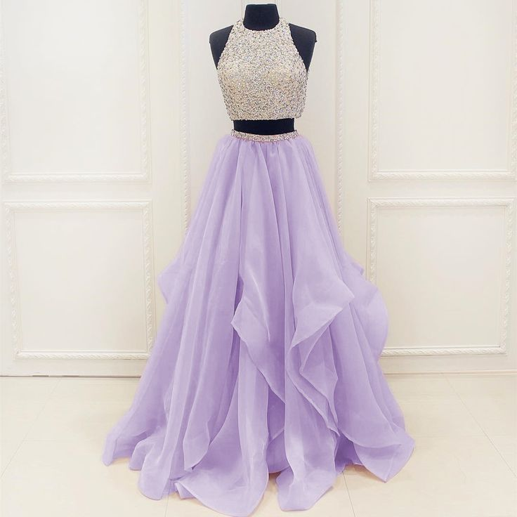 New Arrival Prom Dress,Modest Prom Dress,Stunning Sequins And Beaded Top Organza Ruffles Two Piece Prom Dress 2017