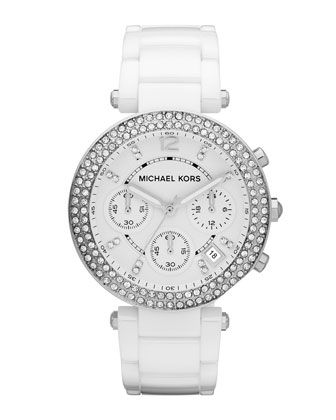 Michael Kors White Acetate Parker Three-Hand Glitz Watch.