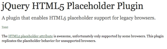 [PlaceHolder] - jQuery HTML5 plugin #jquery