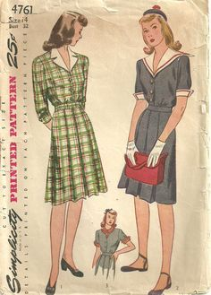 Simplicity 4761 / Vintage 40s Sewing Pattern / Dress / Size 14 Bust 32 by…