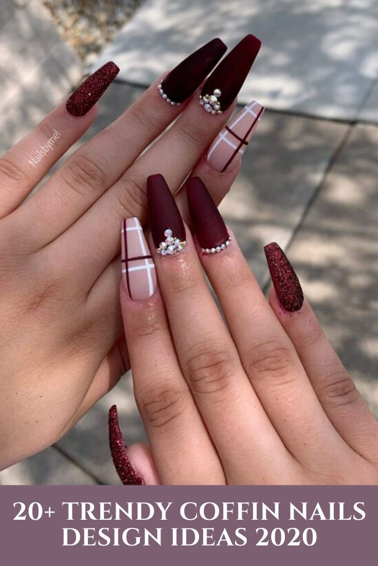 Acrylic Coffin Nails Designs In Fall In 2020 Coffin Nails Designs Burgundy Nails Nail Designs