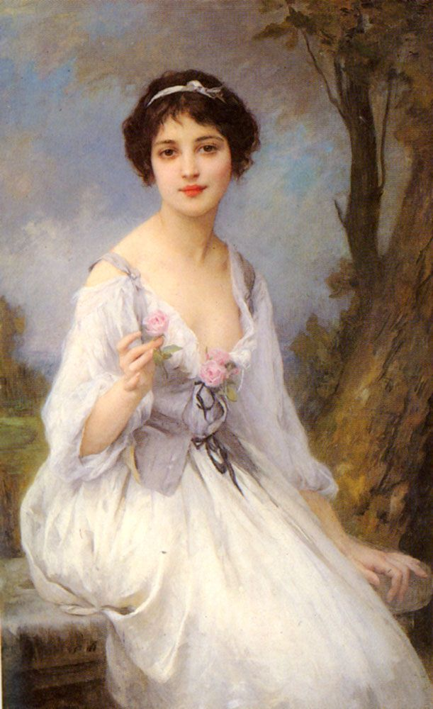 """The Pink Rose"" by Charles-Amable Lenoir (1860-1926), French academic painter and realistic portrait painter, who died at age 65."