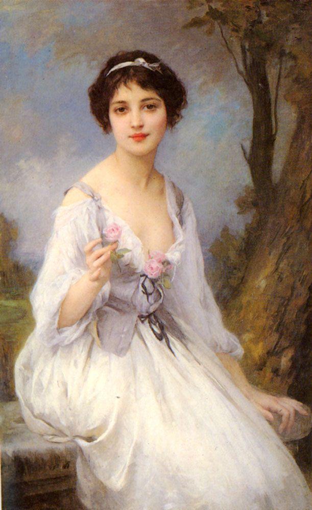 """""""The Pink Rose"""" von Charles Amable Lenoir (geboren am 22. Oktober 1860 in Châtelaillon-Plage, gestorben am 1. August 1926 in Paris), französischer Maler."""