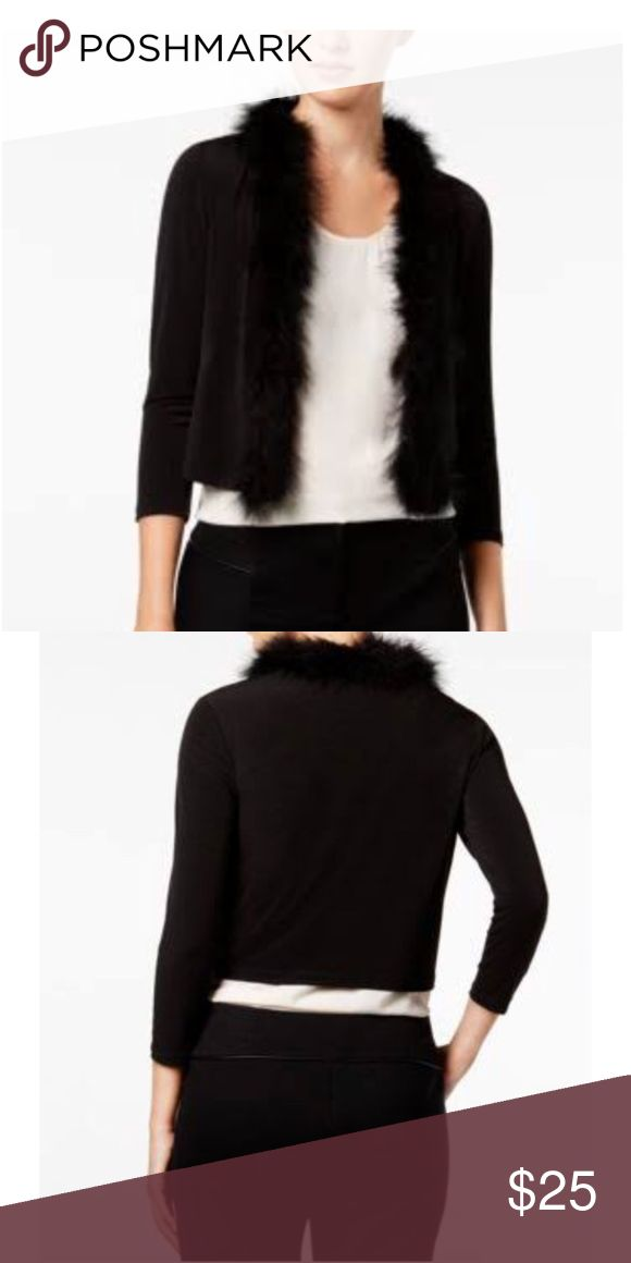 """Calvin Klein Fur Trim Shrug This lightweight faux fur shrug is perfect for an evening night out, a wedding, special event or just with some jeans for date night. Very soft and slinky material. Dry clean only. Smoke and pet free home. """"One size fits most"""" (Would work best for 6-12) Calvin Klein Sweaters Shrugs & Ponchos"""