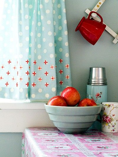 Such cheerful jolts of vintage inspired red and aqua. - - I love this !! When we were kids everyone used oilcloth on their tables.  One could just wash it off after eating but I guess today it would be considered unsanitary. We remember in 30s ( Ray) and me 40s by 50s I think Formica was starting to come in. Karen 5/29/13