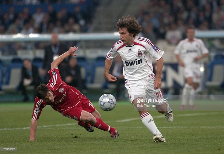 Sport, Football, UEFA Champions League Final, Athens, 23rd May 2007, AC Milan 2 v Liverpool 1, AC Milan's Andrea Pirlo with Liverpool's Xabi Alonso