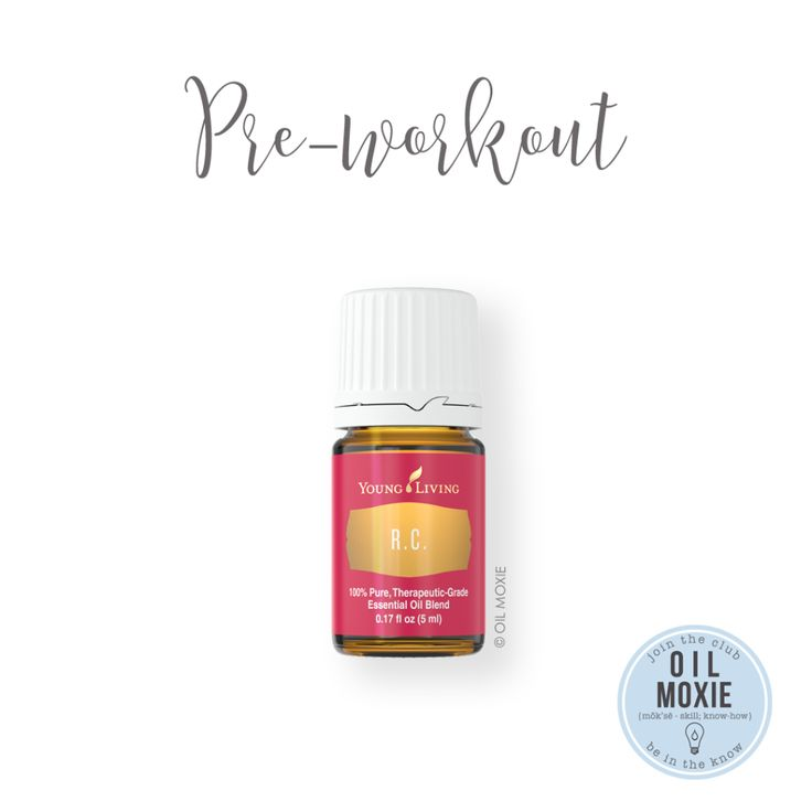 Pre-workout oily awesomeness!! I like to add 10-20 drops of RC to a 10-ml roller bottle and fill the rest of the bottle with carrier oil. I roll that stuff right on my chest, throat, and sinuses and take a deep breath. I feel amazing during a workout when I use this!