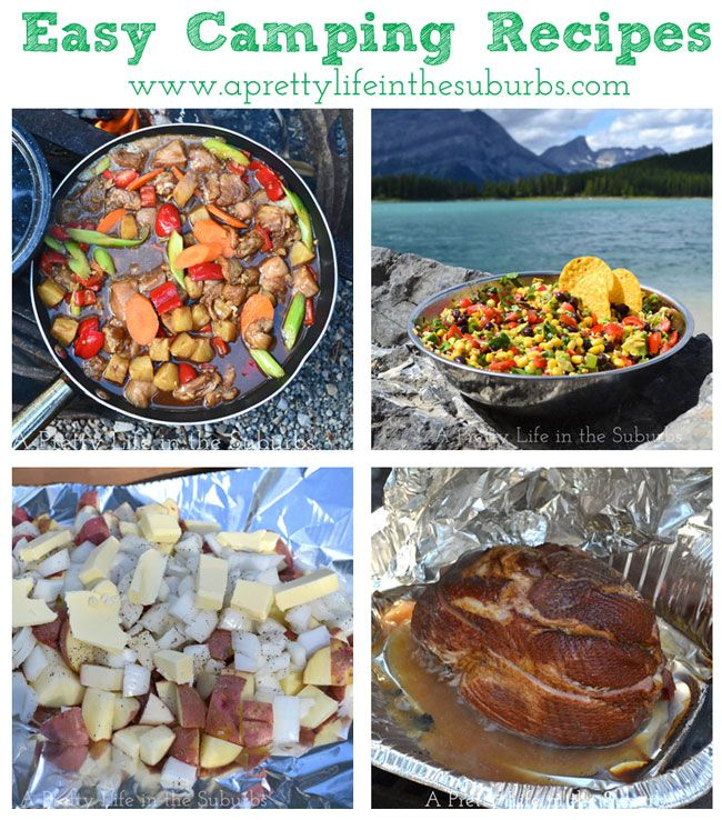 Easy Camping Recipes {A Pretty Life}: Orange Ginger Chicken, Chopped Mexican Corn and Bean Salad, Campfire Potatoes, Campfire Roasted Ham