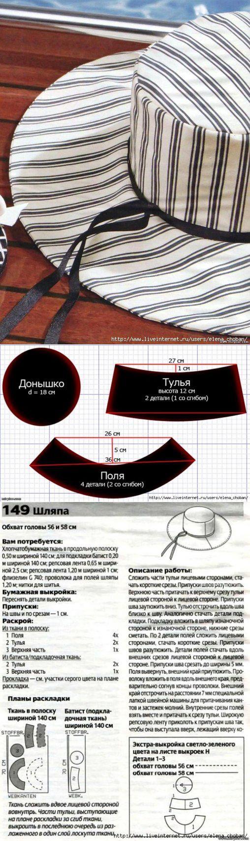 Выкройка шляпы / Простые выкройки / ВТОРАЯ УЛИЦА