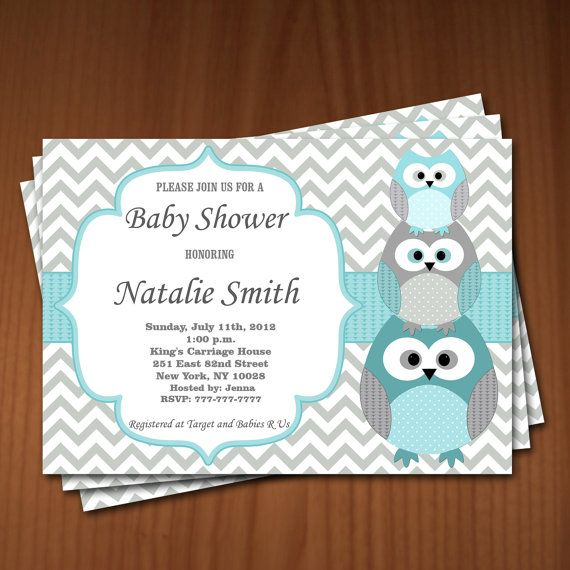 Owl Baby Shower Invitation Boy Baby Shower by diymyparty on Etsy, $10.00 comes with free thank you printable