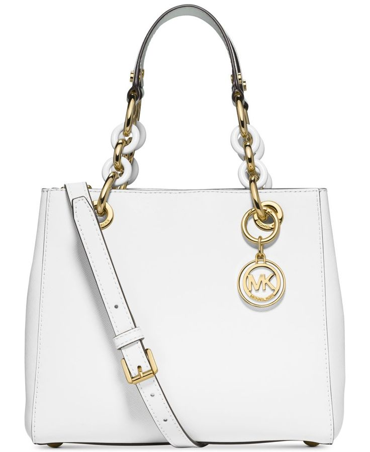 Shop Cynthia Small Saffiano Satchel Bag, Optic White from Michael Kors at  Neiman Marcus Last Call, where you\u0027ll save as much as on designer fashions.