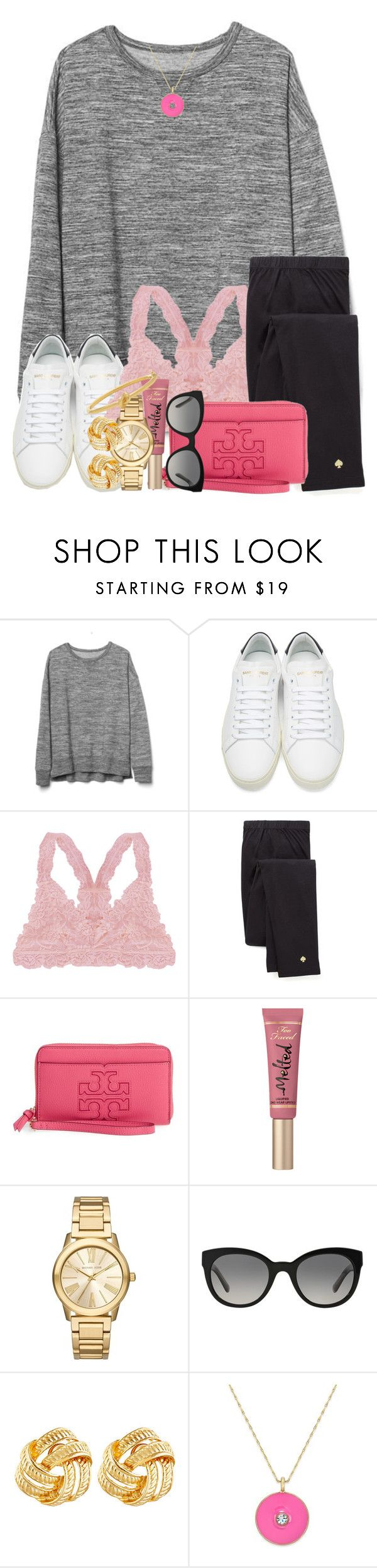 """Hannah Montana marathon is "" by thefashionbyem ❤ liked on Polyvore featuring Gap, Yves Saint Laurent, Humble Chic, Kate Spade, Tory Burch, Too Faced Cosmetics, Michael Kors, Burberry and Susan Shaw"