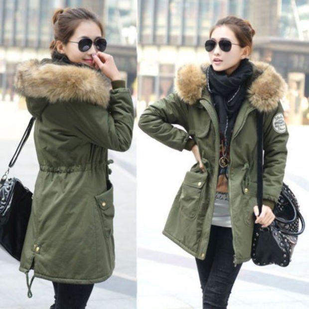 Women Lady Parka Winter Warm Thicken Fleece Trench Hooded Coat Jacket Outwea