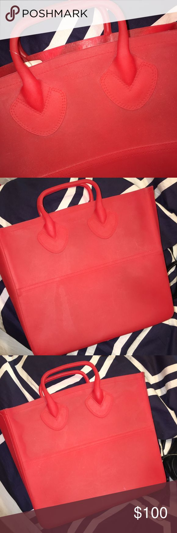 NWT FURLA GUMMY cherry red rubber tote Received this bag as a gift. I'm a big Wisconsin Badger fan so it's only natural I get lots of red accessories :) Anyways, I never used it. It's rubber. Definitely durable. The Saks tag is still attached. A perfect pop of color for any season! Furla Bags Totes