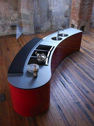 Design keuken Alessi Volo in hoogglans rood (Valcucine Keukens)