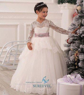 Manga Longa Laço formal Dança Festa De Natal Menina Flor vestido, vestido de dama de honra