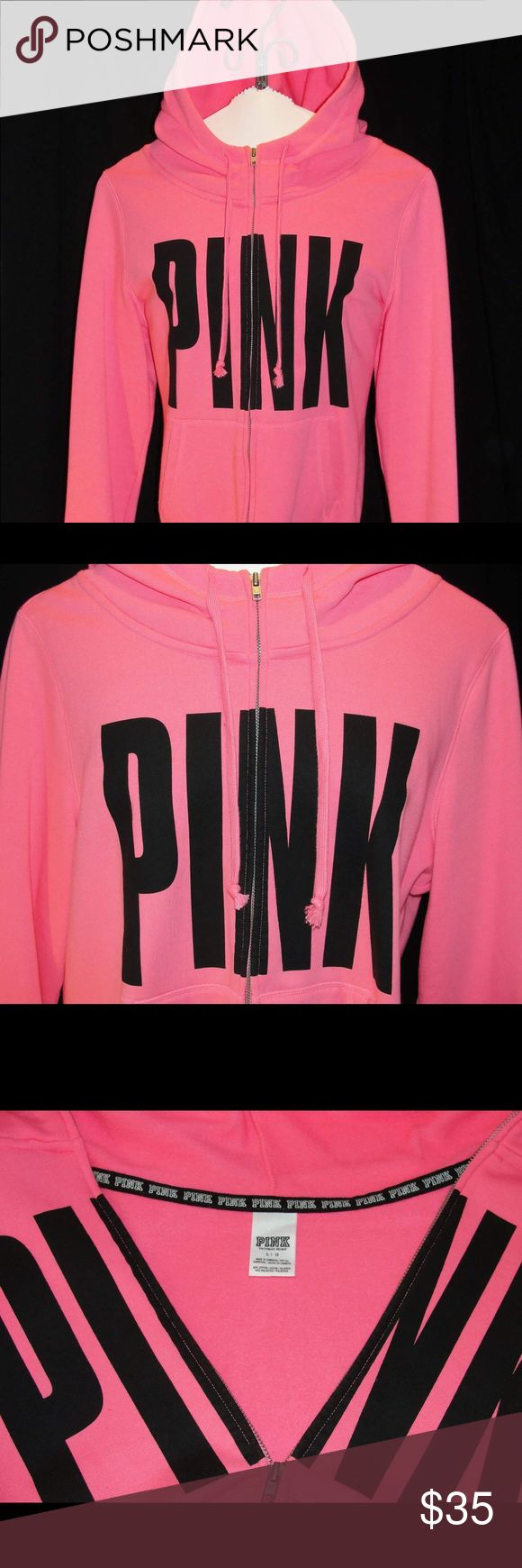PINK-Hot Pink Zip Up Hoodie with Black Script Awesome Hoodie to have for this up coming fall. PINK Victoria's Secret Jackets & Coats