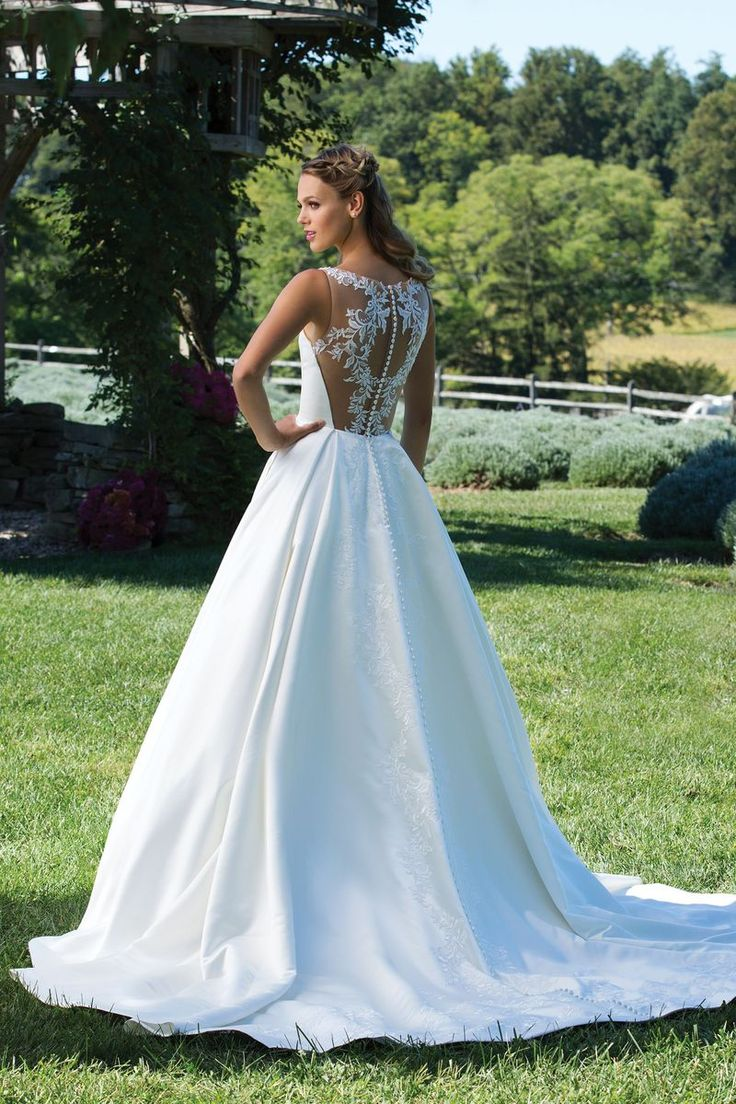 Sincerity Bridal - Style 3987: Matte Satin Ball Gown with Box Pleat Skirt and Sabrina Neckline