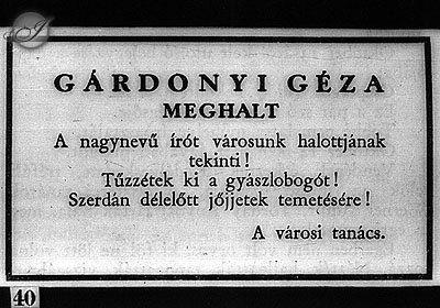 1922. Gárdonyi Géza gyászjelentése
