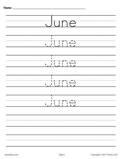 FREE printable months of the year handwriting worksheets. These tracing worksheets are perfect for preschool and kindergarten. Includes all twelve months. Get the free handwriting worksheets here --> http://www.mpmschoolsupplies.com/ideas/7534/free-months-of-the-year-handwriting-worksheets/