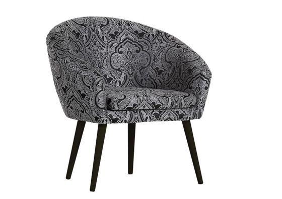 Sessel aus 90% Polyester und 10% Polyamid in der Farbe Paisley Grau. B/H/T: ca. 73/73/66cm.