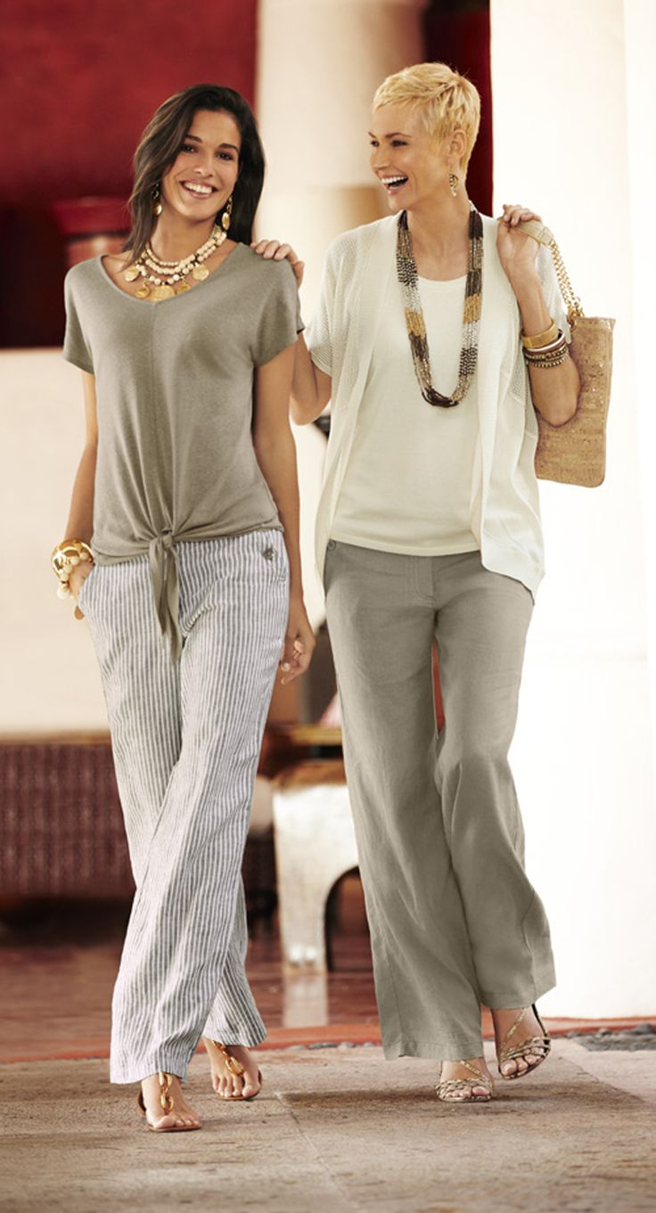 Two ways to wear the linen pant: 1. Keep it kicked back with a tie-front linen tee. 2. Go easy chic with a mixed-fabric cardi.