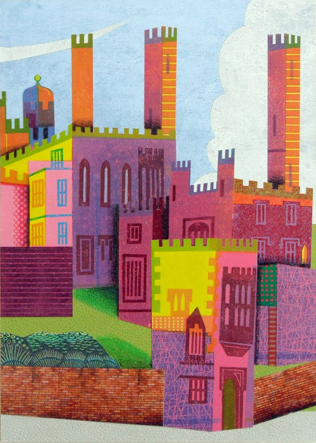 """Rugby School """"Revisited"""". Reduction Linocut Collage and mixed media 2016 © Eric Gaskell 2016"""
