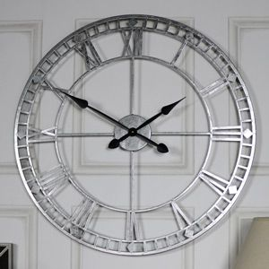 Extra Large Silver Skeleton Wall Clock Create a bold statement in your home with this fabulous wall clock. In the classic skeleton style, this clock will stand out with it's extra large size and beautiful silver finish.  #clocks #Silverclock # homedecor #extralargeclock #vintage #retro #livingroom #hallway # kitchen #bedroom