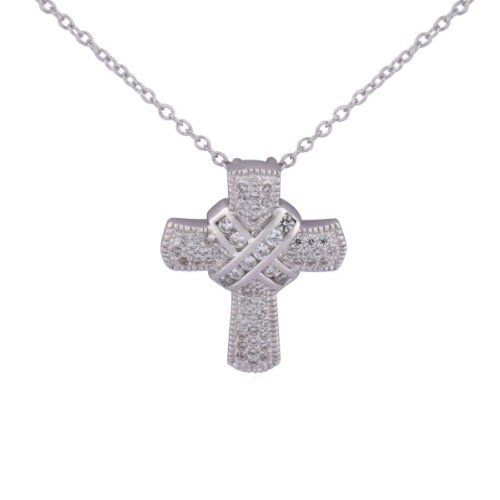 """Sterling Silver Simulated Diamond Cross with Wrap Pendant Necklace, 18"""" Amazon Curated Collection. $34.18. Made in China"""